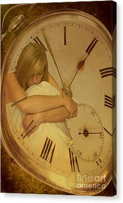 Blonde Canvas Print - Girl In White Dress In Pocket Watch by Amanda Elwell