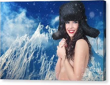 Girl In Winter Fur Cap Canvas Print by Aleksey Tugolukov