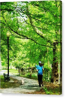 Girl Jogging With Dog Canvas Print