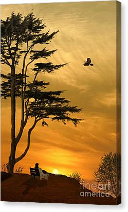 Sky Scape Canvas Print - Girl On A Bench At Sunset by Tom York Images