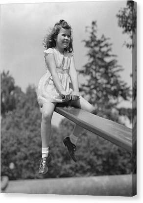 Girl On A Seesaw, C.1940-50s Canvas Print by H. Armstrong Roberts/ClassicStock