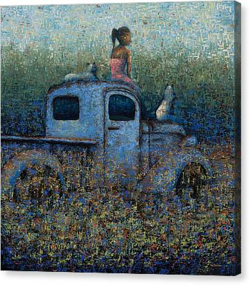 Girl On A Truck Canvas Print