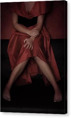 Gown Canvas Print - Girl On Black Sofa by Joana Kruse