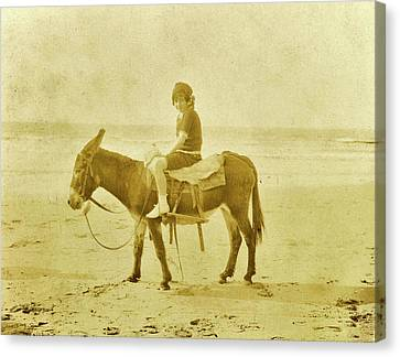 Girl On Donkey On The Beach North Sea, The Netherlands Or Canvas Print