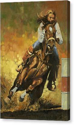 Girl Barrel Racing Canvas Print by Don  Langeneckert