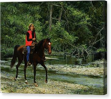 Trail Ride Canvas Print - Girl On Horse by Don  Langeneckert