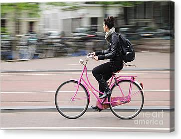 Girl On Pink Bicycle Canvas Print by Oscar Gutierrez