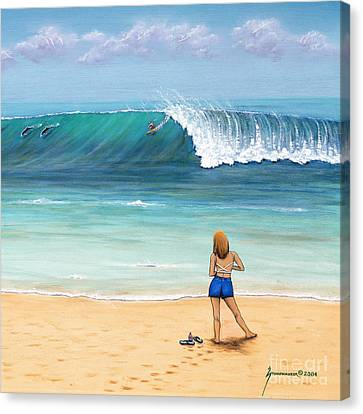 Girl On Surfer Beach Canvas Print by Jerome Stumphauzer