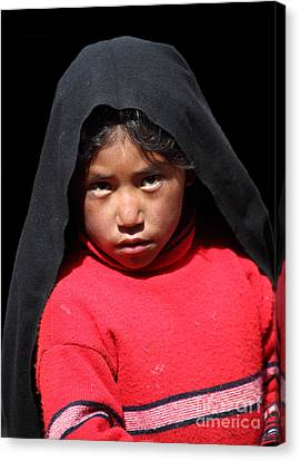 Girl On Taquile Island Canvas Print by James Brunker