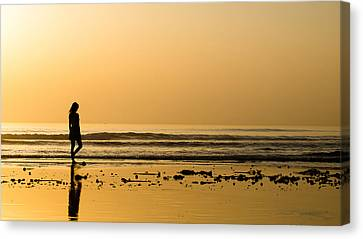 Girl On The Beach Canvas Print by Jb Atelier
