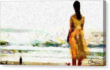 Girl On The Beach Tnm Canvas Print by Vincent DiNovici