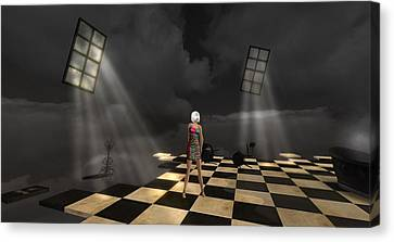 Canvas Print featuring the digital art Girl On The Floor by Susanne Baumann