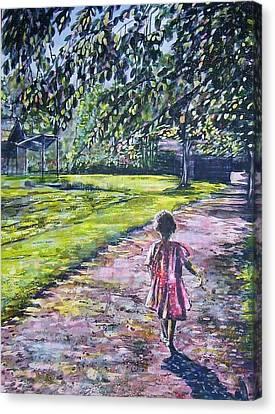 Girl On Trail Canvas Print by Linda Vaughon