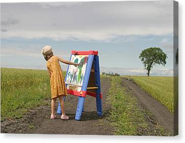 Girl Painting In Field Canvas Print by Mirek Weischel