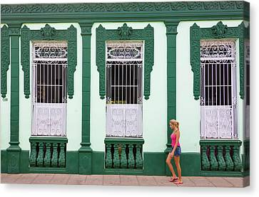 Girl Passing An Old House, Trinidad Canvas Print