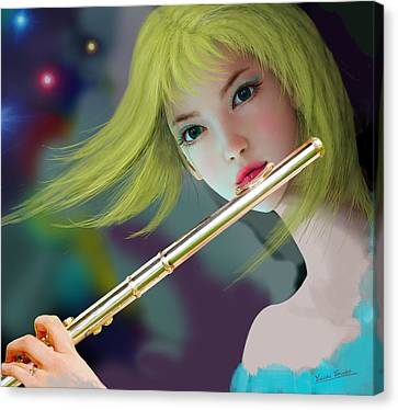 Girl Playing Flute 2 Canvas Print