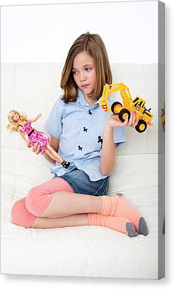 Girl Playing With Doll And Toy Truck Canvas Print