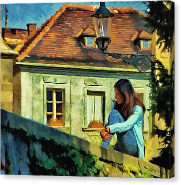Girl Posing On Stone Wall Canvas Print by Jeff Kolker