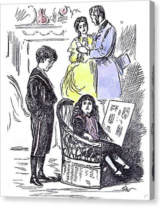 Girl Reading At Home 1874 Chair Parents Brother Sister Canvas Print by English School