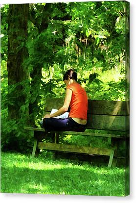 Dappled Canvas Print - Girl Reading In Park by Susan Savad