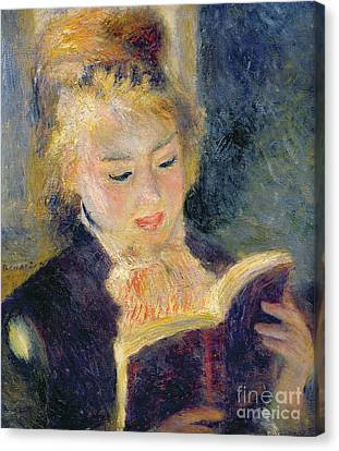 Girl Reading Canvas Print by Pierre Auguste Renoir