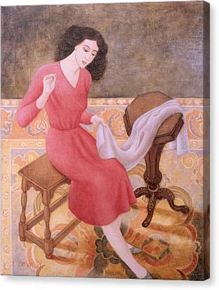 Girl Sewing, 1991 Canvas Print by Patricia O'Brien