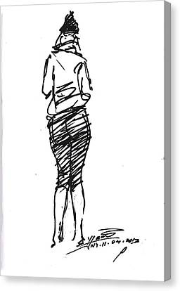 Girl Sketch Canvas Print