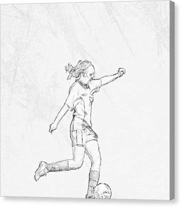 Girl Soccer Player Charcoal Sketch Canvas Print