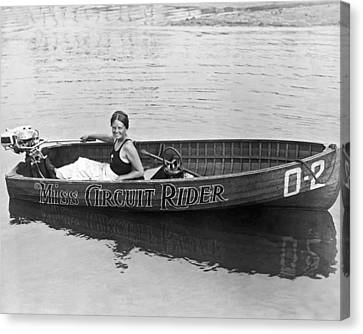 Girl Speedboatdriver To Race In President's Cup Races Canvas Print by Underwood Archives