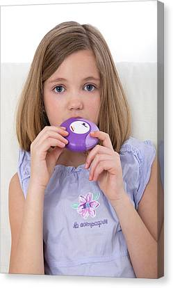 Girl Using Asthma Medication Canvas Print