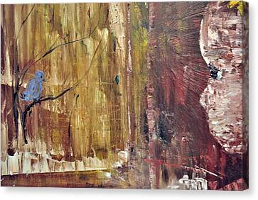 Girl With A Blue Bird Canvas Print by Evelina Popilian