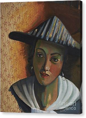 Girl With A Flute After Vermeer From Series Visiting Vermeer's Women By Myra O'reilly Canvas Print