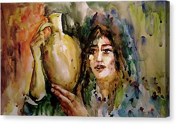 Canvas Print featuring the painting Girl With A Jug. by Faruk Koksal