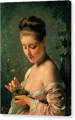 Girl With A Nest Canvas Print by Charles Chaplin