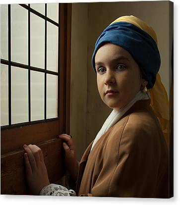 Canvas Print featuring the photograph Girl With A Pearl Earring At A Window by Levin Rodriguez