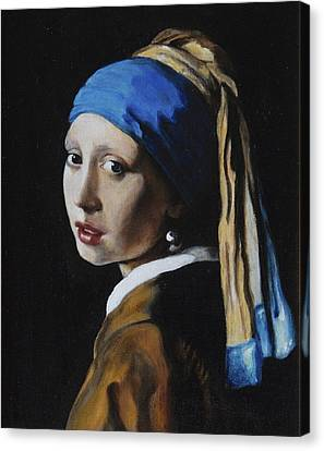Girl With A Pearl Earring After J. Ver Meer  Canvas Print by Massimo Tizzano