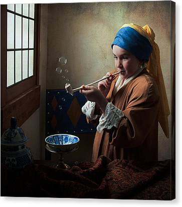Canvas Print featuring the photograph Girl With A Pearl Earring Blowing Bubbles by Levin Rodriguez
