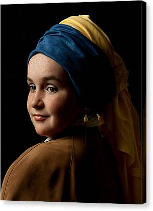 Canvas Print featuring the photograph Girl With A Pearl Earring by Levin Rodriguez