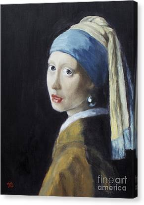 Girl With A Pearl Earring - Vermeer Copy Canvas Print by Troy Wilfong