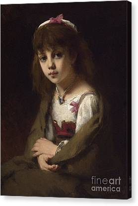 Girl With A Pearl Necklace Canvas Print by Celestial Images