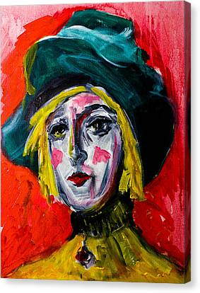 Girl With A Green Hat Canvas Print