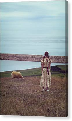 Girl With A Sheep Canvas Print by Joana Kruse