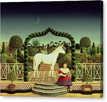 Unicorn Canvas Print - Girl With A Unicorn by Anthony Southcombe