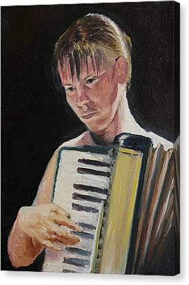 Girl With Accordion Canvas Print