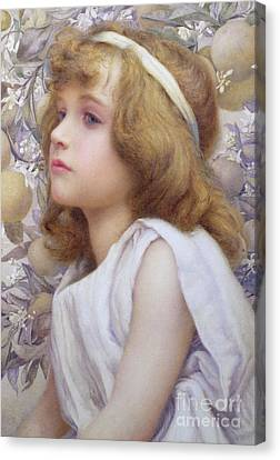 Girl With Apple Blossom Canvas Print