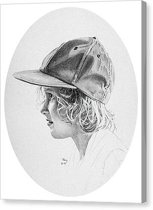 Girl With Baseball Cap Canvas Print by Robert Tracy