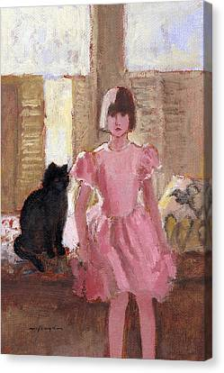 Girl With Black Cat Canvas Print by J Reifsnyder