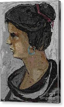 Girl With Blue Earrings Canvas Print by Pemaro
