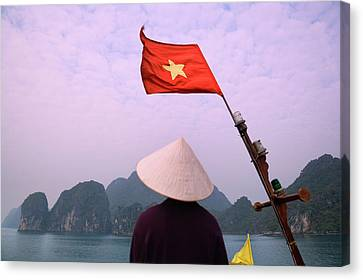 Girl With Conical Hat On A Junk Boat Canvas Print by Keren Su