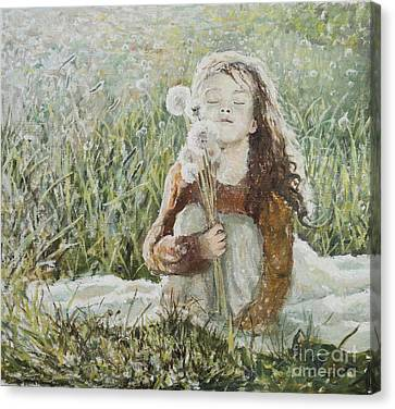 Girl With Dandelions Canvas Print by Eugene Maksim